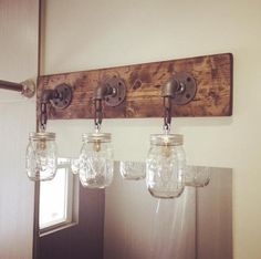 Bathroom Vanity Light Electrical Box mason jar vanity light fixture, country primitive, rustic wood