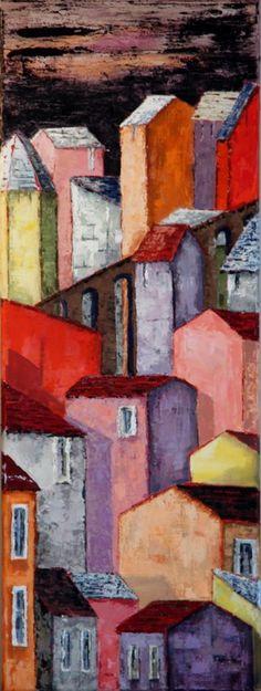 Compression (Peinture), 30x80 cm par Patricia Lejeune étouffement dans la cité.