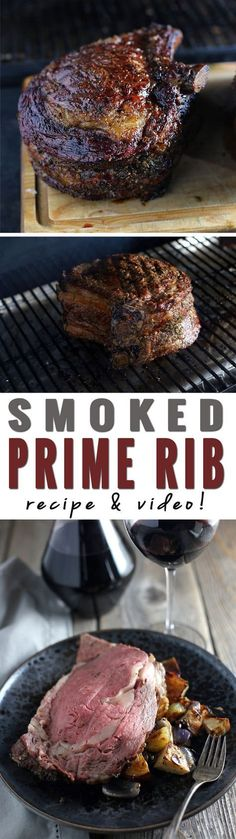 Smoked Prime Rib (recipe and video) - How to Smoke a Prime Rib. Recipe and Vide. - Smoked Prime Rib (recipe and video) – How to Smoke a Prime Rib. Recipe and Video! Traeger Recipes, Smoked Meat Recipes, Rib Recipes, Grilling Recipes, Grilling Tips, Healthy Grilling, Vegaterian Recipes, Bulgur Recipes, Hotdish Recipes