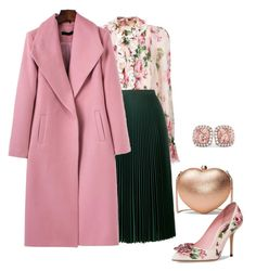 A fashion look from March 2018 featuring Dolce&Gabbana blouses, Prada skirts and Dolce&Gabbana pumps. Browse and shop related looks. Cute Office Outfits, Classy Outfits, Chic Outfits, Fashion Outfits, Fashion 2018, Modest Fashion, Fashion Bloggers Over 40, Coats For Women, Clothes For Women