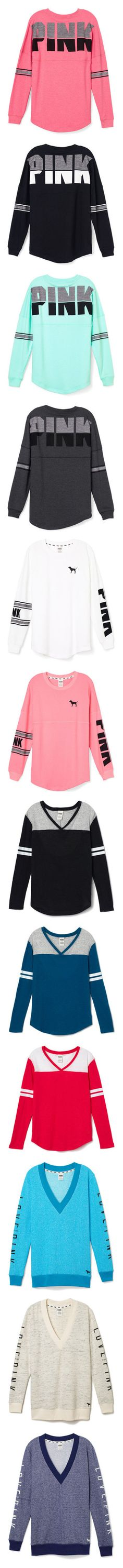 """Victoria's Secret PINK Long Sleeve Shirts"" by oxean-vibes ❤ liked on Polyvore featuring tops, hoodies, sweatshirts, shirts, pink, sweaters, victoria's secret, crew shirt, red crewneck sweatshirt and crewneck sweatshirt"