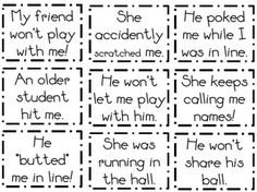 Tattling - would be great to use these cards at the beginning of the year to act out scenarios and come up with possible solutions.