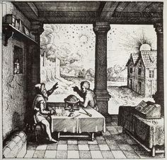 An Astrologer casting a Horoscope, copy of an illustration from 'Utriusque Cosmi Historia' by Robert Fludd, Oppenheim 1617, used in a 'History of Magic', published late 19th century (engraving)