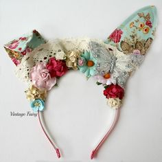 Wow, get a look at this years Easter bunny ears, they are so vibrant and happy. Superb floral fabric has been used to brighten up these stunning bunny ears. Our bunny ears are made using strong quality metal headbands, covered in a matching ribbon. The bunny ears can flip and flop which ever way you like. They are lovely quality A stunning array of flowers are placed around the headband to compliment the fabric. Our Bunny ears are not only for children but for adults too. ...
