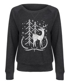 Another great find on #zulily! Heather Charcoal Deer Slouchy Pullover #zulilyfinds