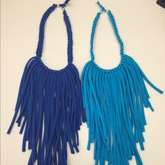 Multi strand handmade necklace Lycra material, super fashion! Only available in turquoise and royal blue. Jewelry Necklaces
