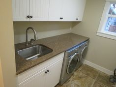 Giallo Antico Granite Countertop. Laundry Room
