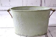Shabby Cottage Bucket Metal Painted Flower Pot by SueEllensFlair