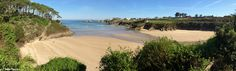 Panoramic view of the Anguileiro beach seen from above. In Asturias, Spain.