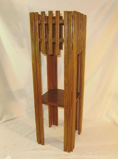 Antique Oak Mission Arts Crafts Plant Stand Table Unusual Design 32 Tall