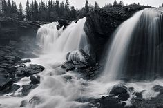 Ristafallet Waterfall, at the side of St Olavsleden.  Campsite in close proximity to the waterfall.  Sweden