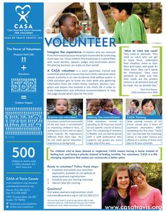 Volunteer recruitment collateral: One-page brochure with details about volunteering for CASA.