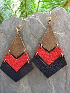 Tri Colored Geometric Leather Earrings by KirstenSabinaDesigns