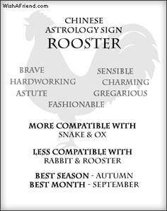 Your Chinese Astrology Sign- Rooster  Qualities - Brave, Hardworking, Astute, Fashionable, Sensible, Gregarious, Charming More Compatible with - Snake & Ox Less Compatible with - Rabbit & Rooster  Lucky Season - Autumn Lucky Month - September Lucky Stone - Jasper Lucky Numbers - 1, 5, 6 Lucky Color - Yellow & White Polarity - Yin