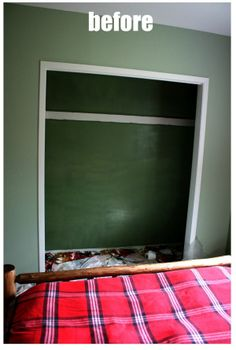 This is the closet in the Downstairs Queen Bedroom before its magical transformation.