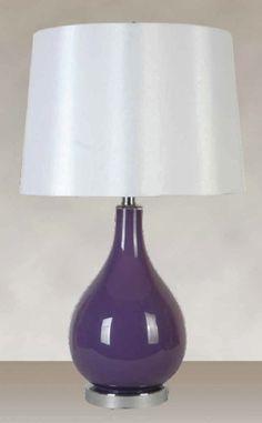 Glass Purple Finish with a White Silk Like Hardback Shade (2 Lamps), $116.99