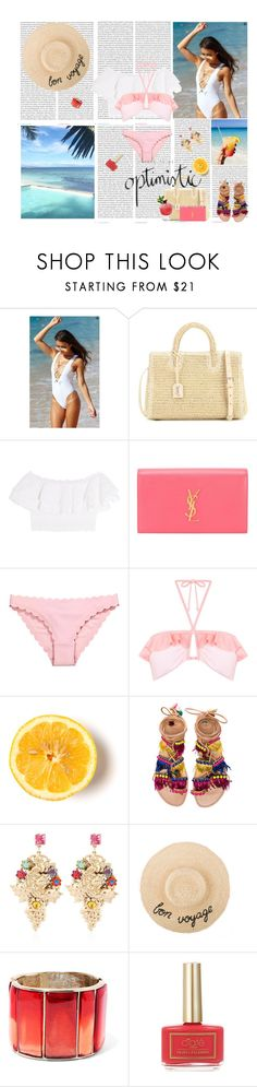 """Beach Babe"" by rikka-alicia ❤ liked on Polyvore featuring Oris, Yves Saint Laurent, Alexander McQueen, Miss Selfridge, Lovestruck, Elina Linardaki, Halo & Co., Oscar de la Renta, Ciaté and summerstyle"