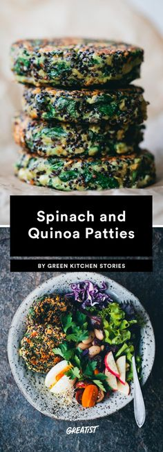 We're not saying you *have* to put these Spinach and Quinoa Patties in a bowl, but we are saying that bowls make everything taste better. It's just objectively true. These vegetarian beauties are made Easy Spinach Recipes, Veggie Recipes, Gourmet Recipes, Vegetarian Recipes, Cooking Recipes, Healthy Recipes, Cajun Recipes, Vegan Meals, Recipes With Quinoa
