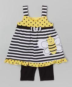 Yellow Bee Tank & Black Shorts - Infant, Toddler & Girls by Nannette Girl #zulily #zulilyfinds