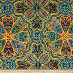 Kaufman Lumina Metallics Large Medallion Jewel from @fabricdotcom  Designed by Peggy Toole for Robert Kaufman, this cotton print fabric is perfect for quilting, apparel and home decor accents. Colors include red, orange, yellow, green, blue, purple and black with gold metallic accents.