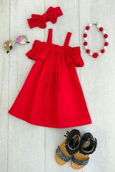 New Arrivals - Limited Supply : Red Off-Shoulder Dress So adorable and perfect for everyday wear this Spring and Summer! Includes dress only Little Girl Outfits, Kids Outfits Girls, Little Girl Fashion, Little Girl Dresses, Toddler Outfits, Kids Fashion, Girls Dresses, Pageant Dresses, Ladies Fashion