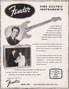 Your place to buy and sell all things handmade 1955 FENDER GUITAR AMP Music Advertisement Lawrence Welk & Buddy Merrill by phorgotten Retro Advertising, Vintage Advertisements, Vintage Ads, Retro Ads, Fender Guitar Amps, Fender Stratocaster, Fender Bass, Bass Guitars, Lawrence Welk