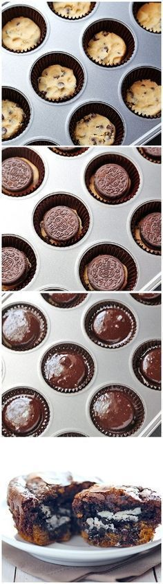 Cookie-Stuffed Brownie Cupcakes I have heard these called Slutty Brownies and they are yummy! Cupcake Recipes, Baking Recipes, Cookie Recipes, Dessert Recipes, Gourmet Cupcakes, Brownie Cupcakes, Cupcake Cakes, Cookie Brownies, Mocha Cupcakes