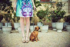 Mint barocco dog  skater skirt by ZIBtextile on Etsy