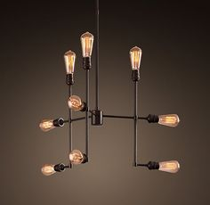 """Varick Chandelier Vintage Bronze Small>> Dimensions  Overall: 23"""" diam., 50""""H  Rods: one 6"""", two 12"""" and one 16"""""""