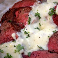Roasted Beef Tenderloin with Gorgonzola Cream Sauce