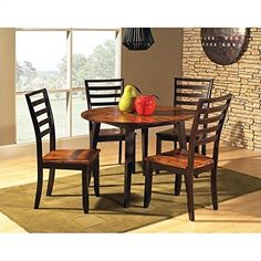 Steve Silver Abaco 5pc Round Dining Room Table Set in Acacia *** Be sure to check out this awesome product.Note:It is affiliate link to Amazon.