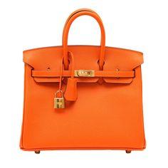 HERMES BIRKIN 25 bag H Orange Gold hardware fresh charm