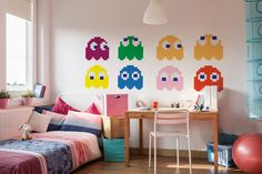 Pac-Man sticker set: Colorful characters from Pac-Man game will improve the interior of a teen's room. They can be placed anywhere you want - even in a kitchen or a living room. #video #games #retro #kids #room #wall #decor
