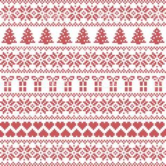 Seamless pattern Christmas including gifts, snowflakes, stars, gifts royalty-free seamless pattern christmas including gifts snowflakes stars gifts stock vector art & more images of art and craft Fair Isle Knitting Patterns, Christmas Knitting Patterns, Knitting Charts, Knit Patterns, Cross Stitch Borders, Cross Stitch Designs, Cross Stitch Patterns, Russian Cross Stitch, Knitted Christmas Stockings