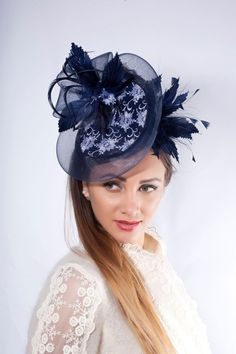 fascinator headpiece melbourne millinery kentucky couture wedding guest ascot derby lace navy cup hat Navy fascinator hat Melbourne cup hat Kentucky derby fascinator Ascot hat Wedding guest headpieYou can find Lace and more on our website Kentucky Derby Fascinator, Derby Hats, Melbourne Cup, Millinery Hats, Fascinator Hats, Cocktail Bleu, Cocktail Hat, Evening Cocktail, Wedding Guest Fascinators