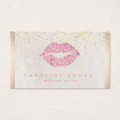 #makeupartist #businesscards - #faux pink glitter lipstick kiss makeup artist business card