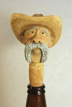 Handmade Wood Old Cowboy Bottle Stopper Unique Gift Art Sculpture Carving Barware (30.00 USD) by ClaudesWoodcarving