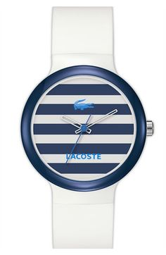 Lacoste 'Goa' Stripe Silicone Strap Watch available at Nordstrom