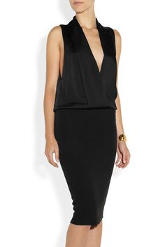 Victoria Beckham|Matte-satin and crepe tuxedo-style dress|NET-A-PORTER.COM