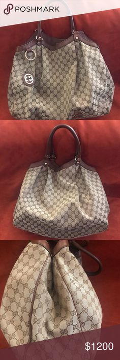 21b07314ea12 Gucci Sukey shoulder Bag Large , roomy Gucci canvas Shoulder bag, excellent  condition- barley