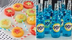 Superhero Birthday party fruit pops and bottles of pop