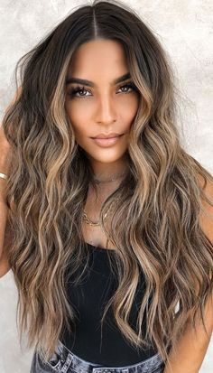Blonde Hair With Highlights, Brown Blonde Hair, Hair Color Balayage, Blonde For Brunettes, Light Brunette Hair, Balayage Hair Brunette With Blonde, Hair Color Ideas For Brunettes Balayage, Balyage Hair, Balayage Hair Caramel