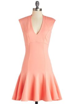 A Dash of Flair Dress in Coral - Coral, Solid, Casual, Fit & Flare, Cap Sleeves, Good, V Neck, Knit, Mid-length, Variation