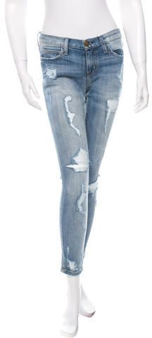 Current/Elliott Distressed Skinny Jeans Mid Rise Skinny Jeans, Distressed Skinny Jeans, Denim, Stylish, Pants, Tops, Women, Fashion, Trouser Pants