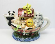 Vintage Collectible Noah's Arc Mini Teapot by GildedTrifles