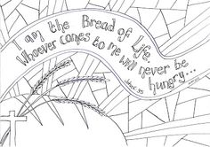 Flame: Creative Children's Ministry: I Am the Bread of Life Reflective Colouring Sheet Fish Coloring Page, Bible Coloring Pages, Coloring Sheets, Adult Coloring, Scripture Doodle, Bible Art, Bible Verses, Prayer Stations, I Am Statements