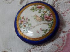 Antique SATSUMA Button with a Bird in the Cherry by Lindasbuttons
