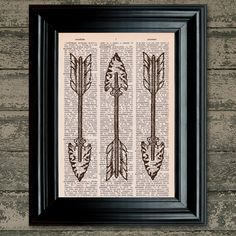 Dictionary Print: Tribal Arrow Vintage by PrintsofRogues on Etsy