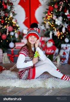 9 Year Old Girl, 9 Year Olds, Red Hats, Christmas Photos, Art Ideas, Photo Editing, Royalty Free Stock Photos, Winter Hats, Design Inspiration