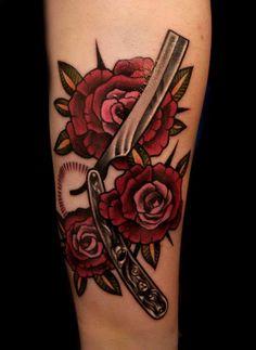 Hairdresser Tattoos, Hairstylist Tattoos, Dope Tattoos, Body Art Tattoos, Tradional Tattoo, Barber Tattoo, Tattoo Apprenticeship, Feminist Tattoo, Knife Tattoo